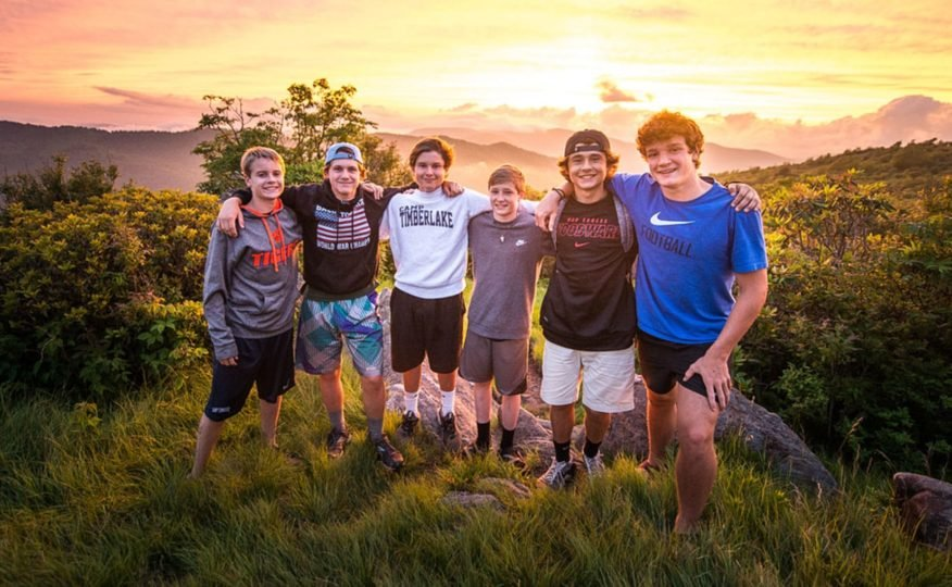 Group of boys at sunset