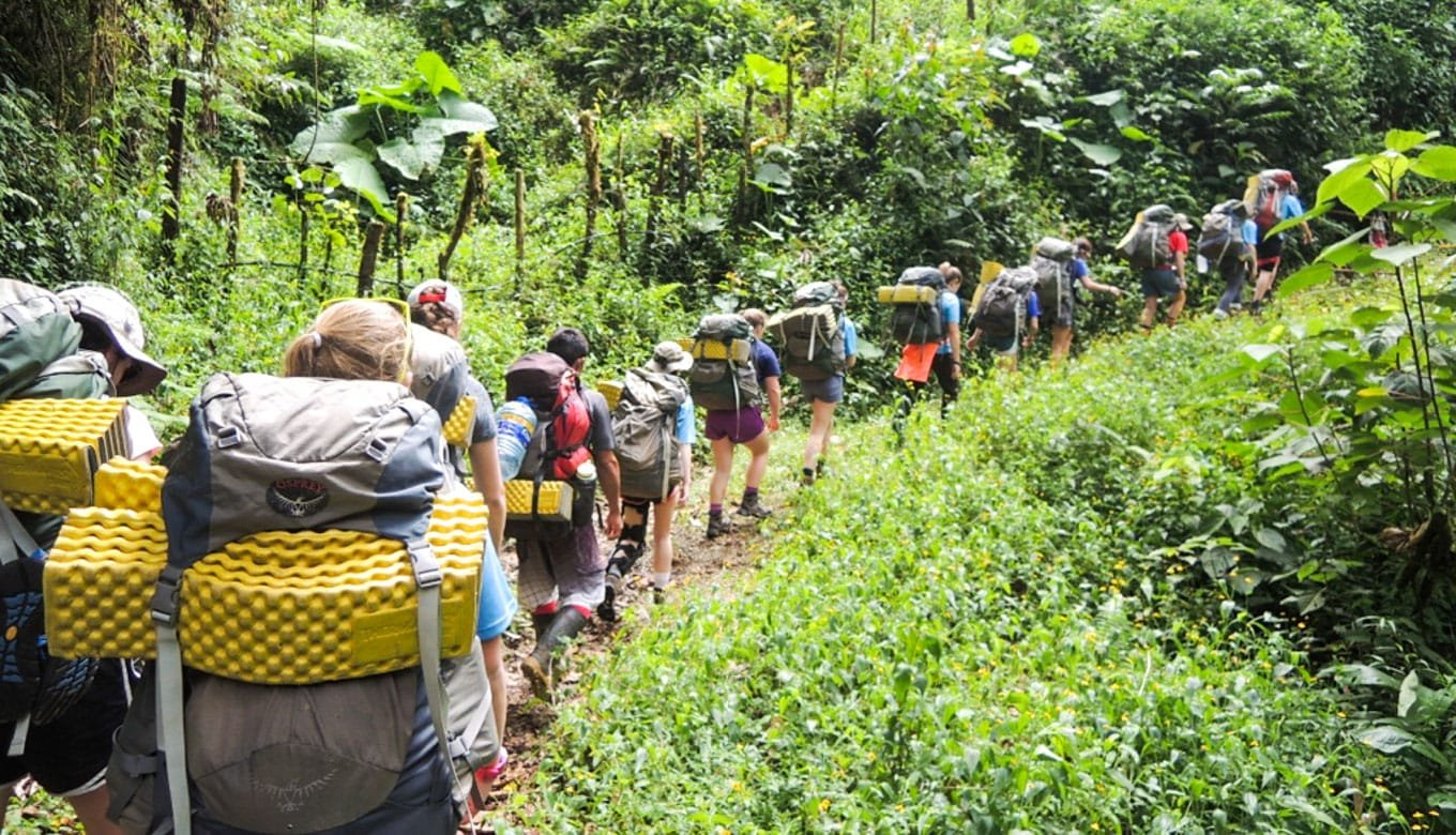 Campers backpacking in Costa Rica forest
