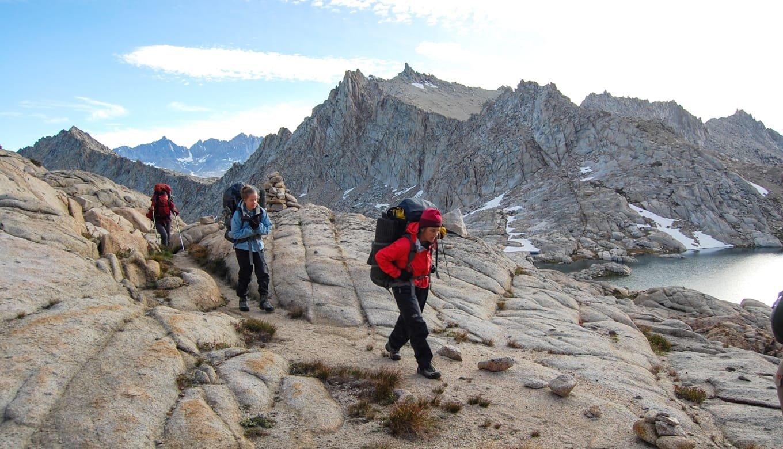 Group of teens hiking in Sierra Nevada, California